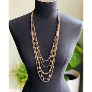 LOFT Gold & Gunmetal Multi-strand Necklace
